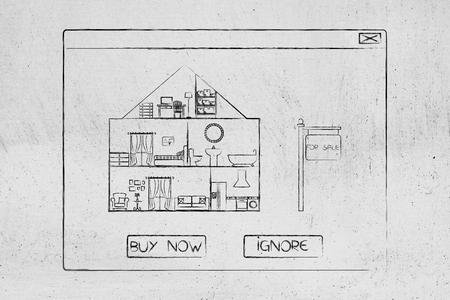 real esate ads online: house for sale into pop-up message with options Buy Now or Ignore Stock Photo
