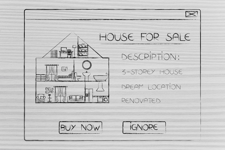 real esate ads online: house for sale with description and options Buy or Ignore