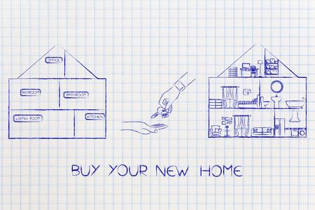 koop je nieuwe huisconcept: van leeg naar volledig ingericht huis met handen die sleutels inwisselen