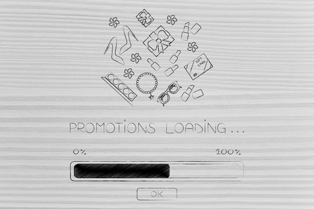 web marketing: shopping and sales concept: promotions loading progress bar with plenty of fashion objects coming out of it