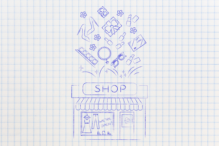web marketing: shopping and sales concept: store with plenty of fashion objects coming out of it