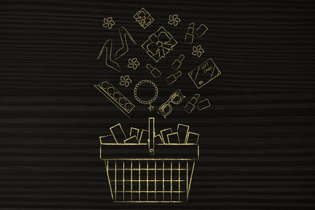 web marketing: shopping and sales concept: full shopping basket with plenty of fashion objects coming out of it Stock Photo