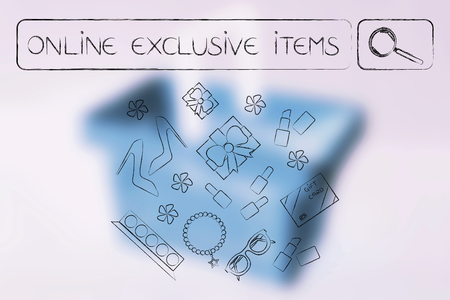 web marketing: online exclusive items and sales concept: search bar with text and mixed fashion objects below it