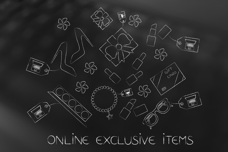 web marketing: shopping and sales concept: online exclusive items caption and mixed fashion object with laptops on price tags