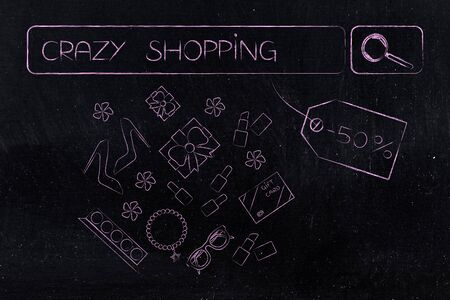online sales concept: Crazy Shopping search engine bar with promotional price tag and mixed fashion objects icons