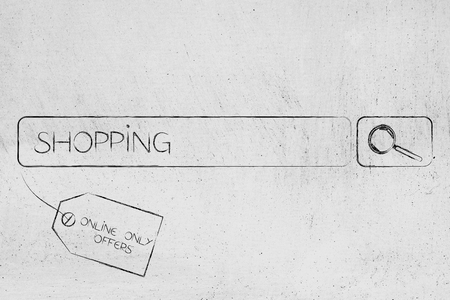 web marketing: online exclusive items and sales concept: search bar with Shopping text and price tag
