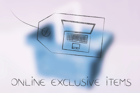 web marketing: online exclusive items and sales concept: product tag with laptop instead of price Stock Photo