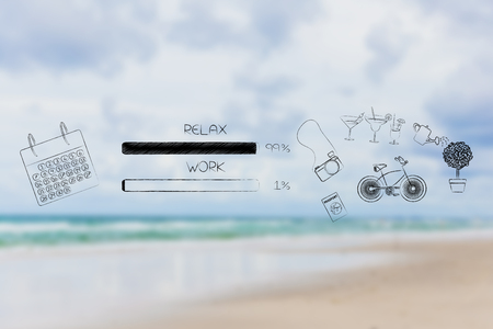 time management and procrastination concept: work and relax percentage bars with calendar and leisure objects with relax being predominant (blurred beach background) Stock Photo