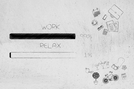 time management and procrastination concept: work and relax percentage bars surrounded by office and leisure objects with work being predominant Stock Photo