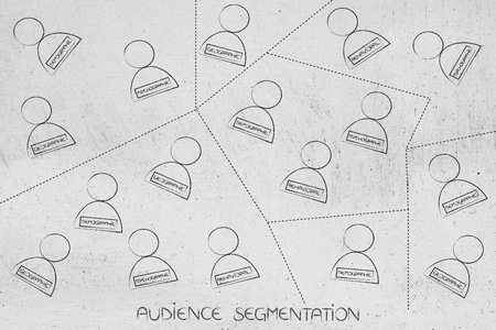 audience segmentation concet: groups of people with specific analytics set of features divided by dashed lines