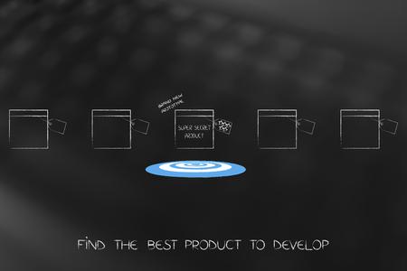 개발 또는 출시 할 다양한 잠재 제품 그룹과 대상 및 반짝임 그룹 찾기 스톡 콘텐츠