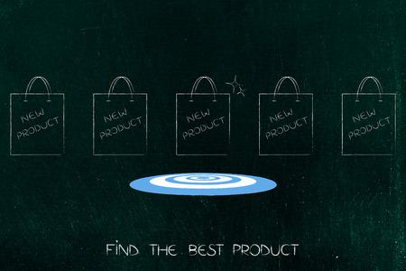 vind het beste: een groep verschillende producten en een met doel en sprankeling