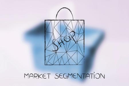 concepto de segmentación de mercado: bolsa de compras con superposición de líneas punteadas sobre fondo de carrito de compras desenfocado