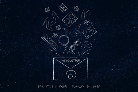 Promotional newsletter: email envelope with products coming out of it