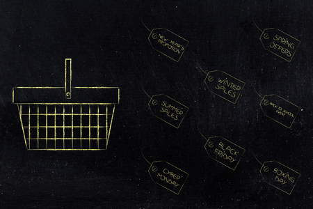seasonal sales shopping: promotional events price tags next to shopping basket Stock Photo