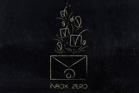 inbox zero conceptual illustration: email envelope with ticks and number zeros coming out of it