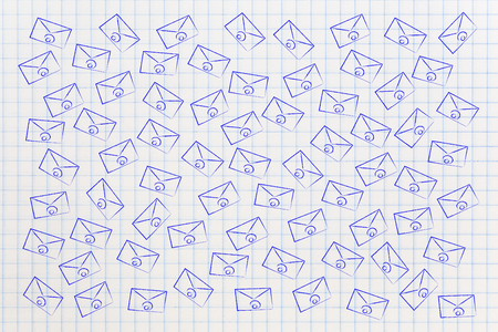 group of many email envelopes moving around