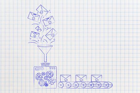spamfilter conceptuele illustratie: machine verwerkt e-mails en laat spam niet doorgaan (productielijn versioon)