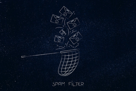 spam filter conceptual illustration: emails being catched by a butterfly net
