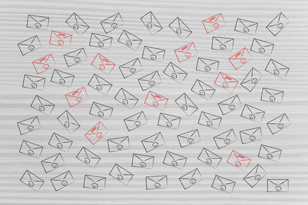 organise your inbox conceptual illustration: group of flying email envelopes and some wtih red Spam label Stock fotó
