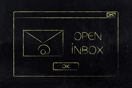 open inbox pop-up message with email envelope icon and Ok button