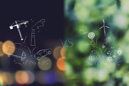 opinions: industry and pollution over city bokeh versus nature and ecology icons over forest bokeh