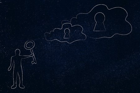 realize your dreams conceptual illustration: man with key next to clouds with locks