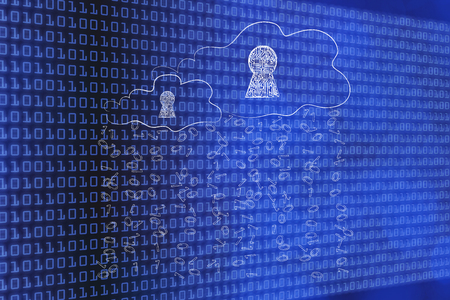data access conceptual illustration: clouds with electronic circuit locks and rain of binary code