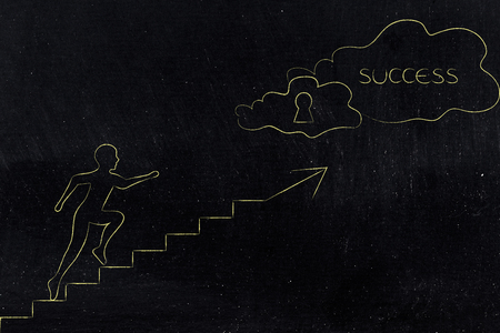 achievements and effort conceptual illustration: man running up a set of stairs towards a cloud with lock and Success text