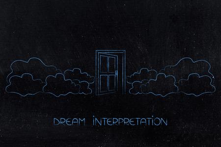 dreams interpretation conceptual illustration: open door surrounded by clouds Zdjęcie Seryjne - 88761916