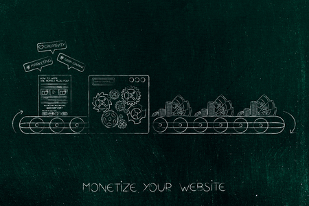 monetize your digital content: production line transforming website into profits Banco de Imagens