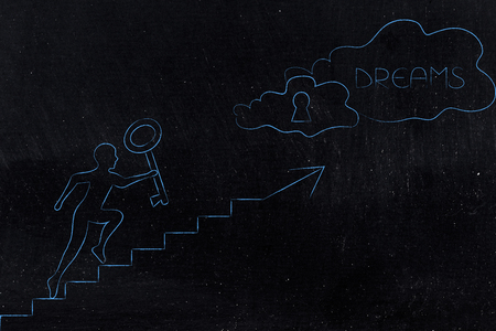achievements and effort conceptual illustration: man with key running up a set of stairs towards a cloud with lock and Success text