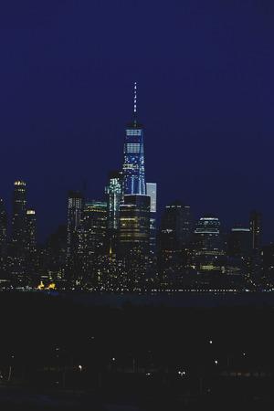 HOBOKEN, NJ - September 11th, 2017: lower Manhattan skyline by night seen from Hoboken, New Yersey Editorial