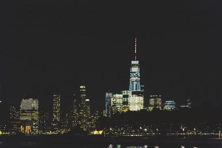 HOBOKEN, NJ - September 16th, 2017: Lower Manhattan skyline by night as seen from Hoboken, New Jersey