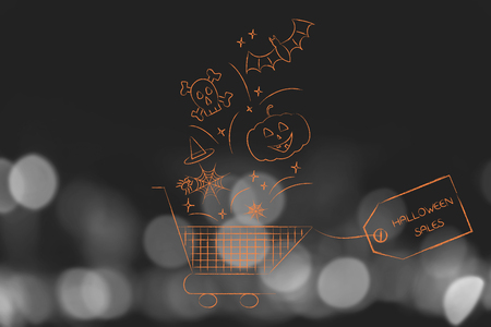 Halloween sales concept: shopping cart with spooky items falling into it and price tag