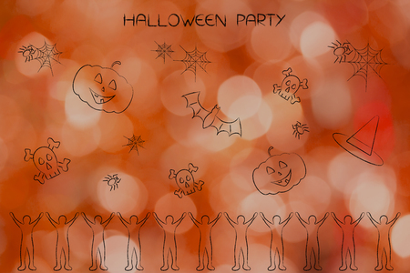 Halloween party and celebrations concept: happy crowd with spooky items above them