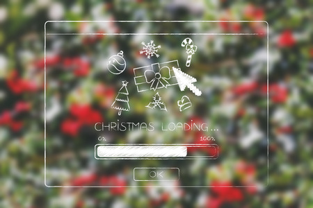 Christmas loading pop-up message with icons and cursor clicking on it, seasonal celebrations concept