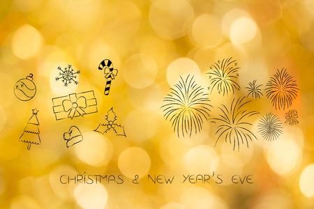Winter holidays concept: Christmas decorations and New years Eve fireworks illustration with caption Stock Photo