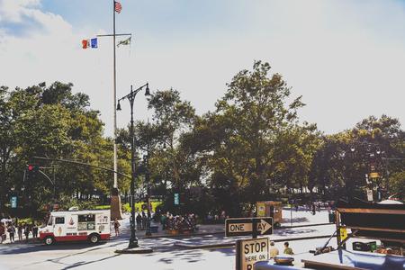 NEW YORK, NY - September 4th, 2017: detail of Battery Park in lower Manhattan