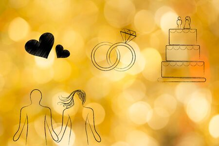 love and relationships conceptual illustration: couple holding hands with lovehearts icon, wedding rings and cake above them