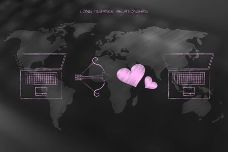 Long distance relationships conceptual illustration: world map with laptops, cupids bow and lovehearts in between