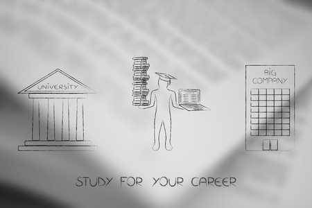 Study for your career conceptual illustration: Graduate student gong from university to a big company employment Stock Photo