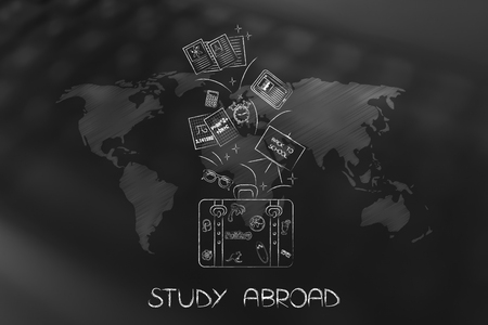 study abroad conceptual illustration: luggage with school items flying out over world map