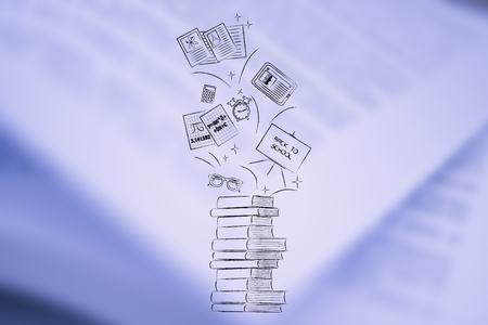 education conceptual illustration: pile of books with school items flying out of it Stock Photo