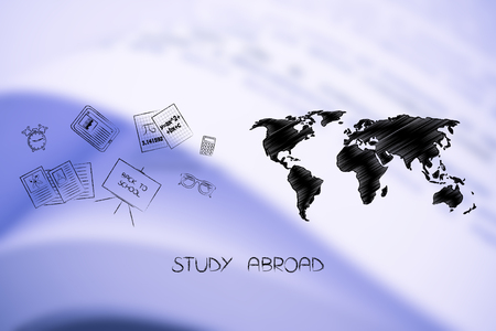 study abroad conceptual illustration: world map next to mixed school items
