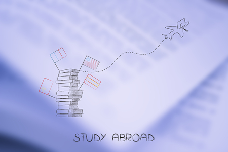 study abraod conceptual illustration: pile of books with flags and airplane flying away with graduation hat on it