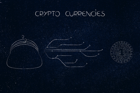 crypto coins conceptual illustration: coin purse with internet connection nodes and digital currency