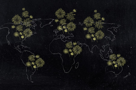 wolrld map covered with fireworks in all continents, concep of new years eve celebrations Stock Photo