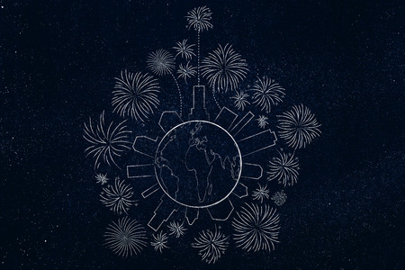 party and celebrations conceptual illustration: fireworks all around planet earth