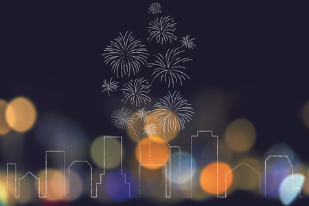 party and celebrations conceptual illustration: urban skyline with fireworks exploding above it